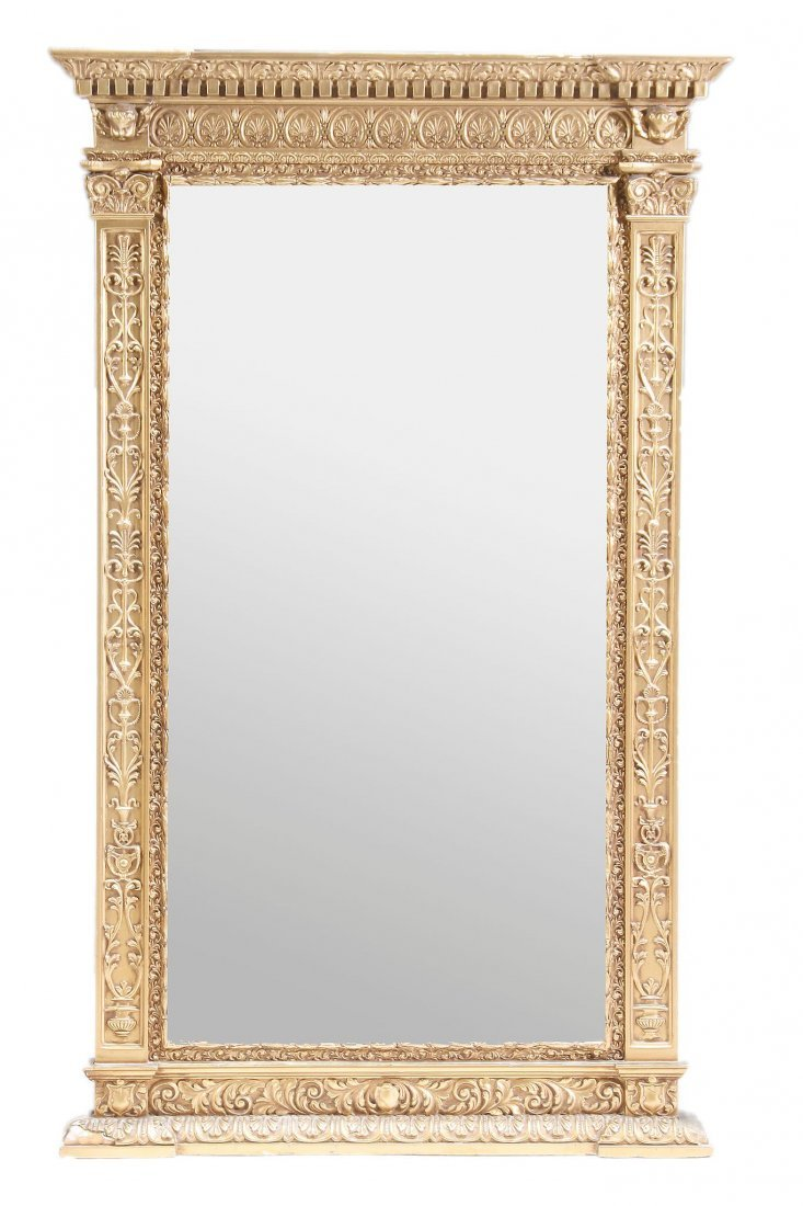 A giltwood and composition framed overmantel mirror,