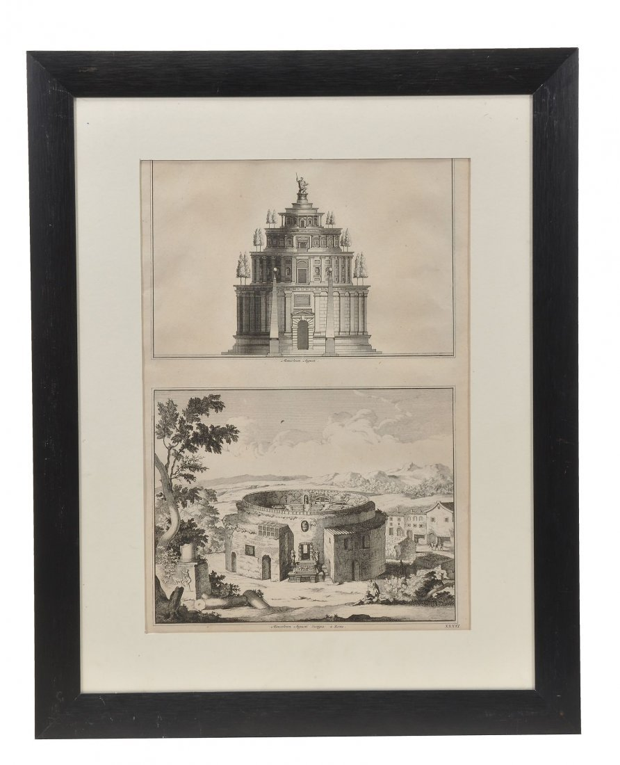 A group of framed prints and engravings of antiquities