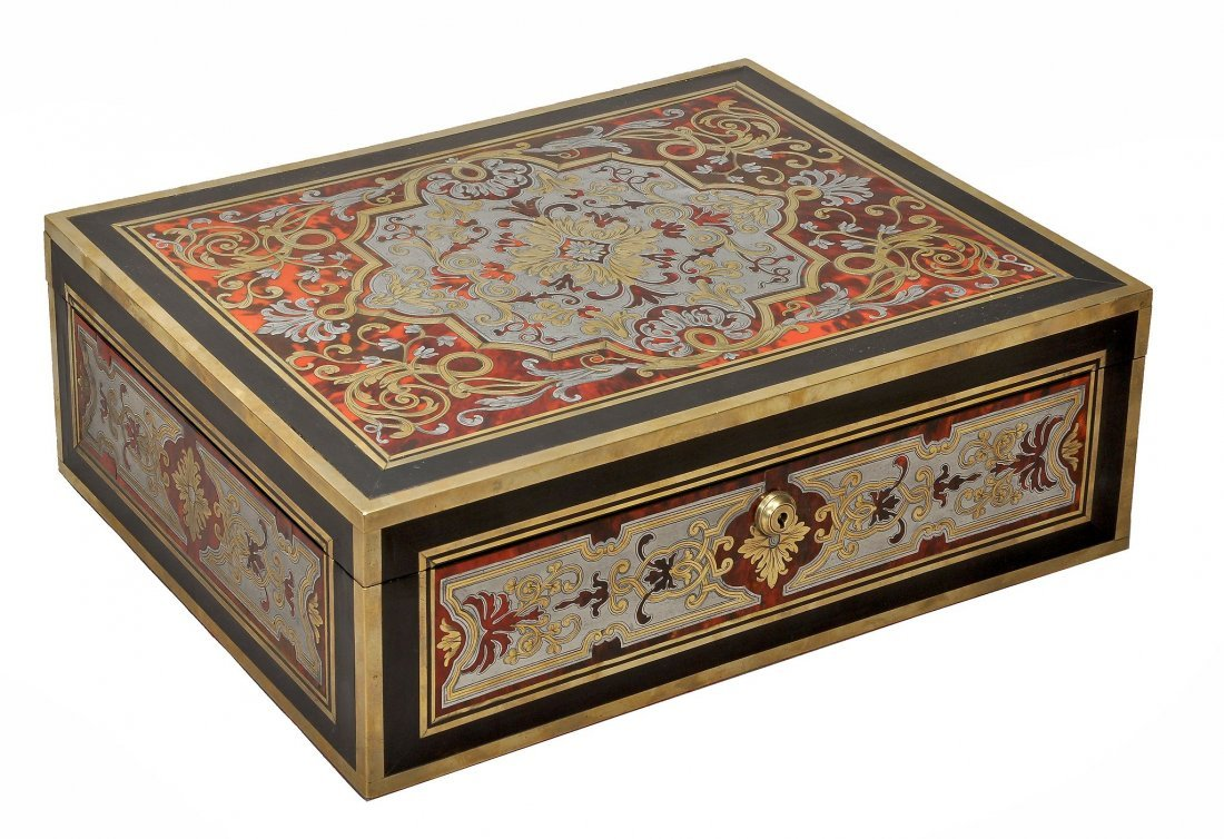 A Regency Boulle work and ebonised casket, circa 1815,