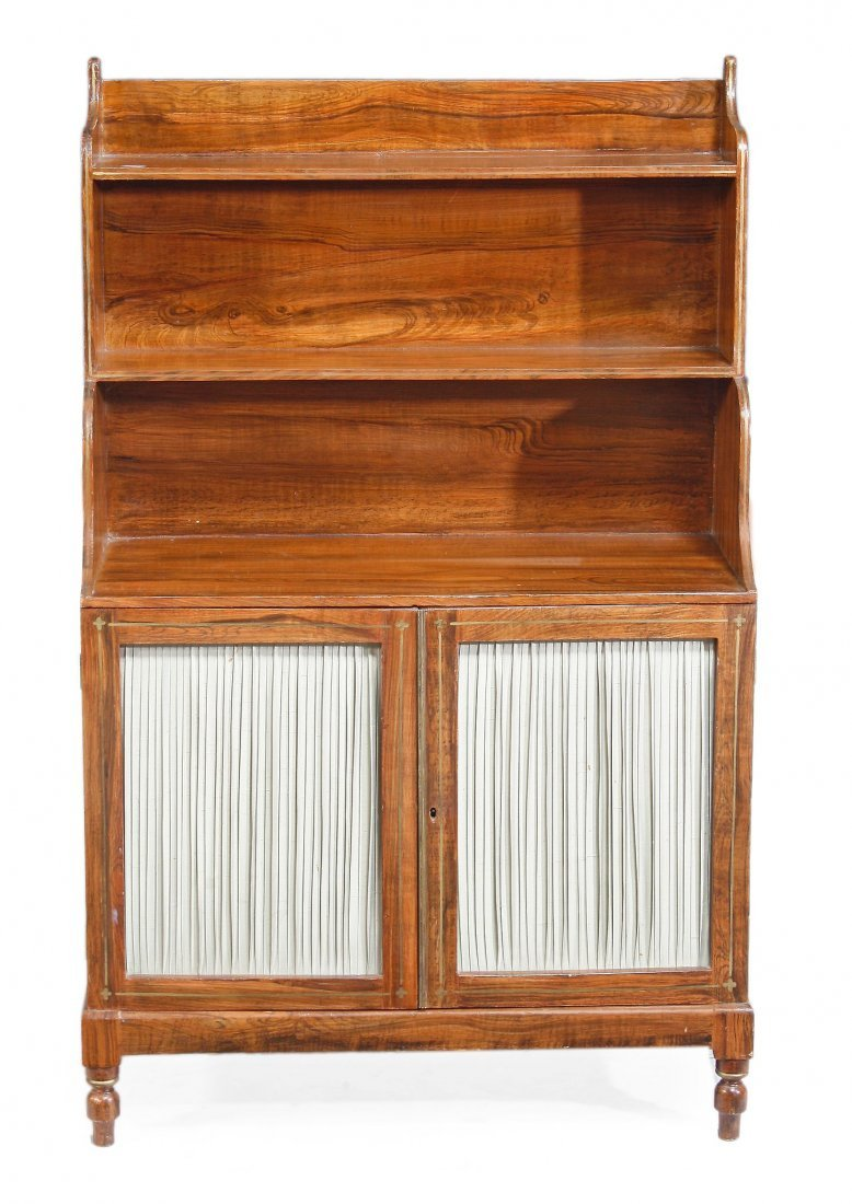 A Regency rosewood waterfall bookcase, circa 1815