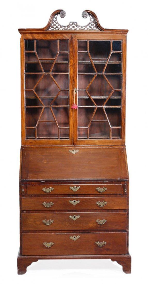 A George III mahogany bureau bookcase, circa 1790