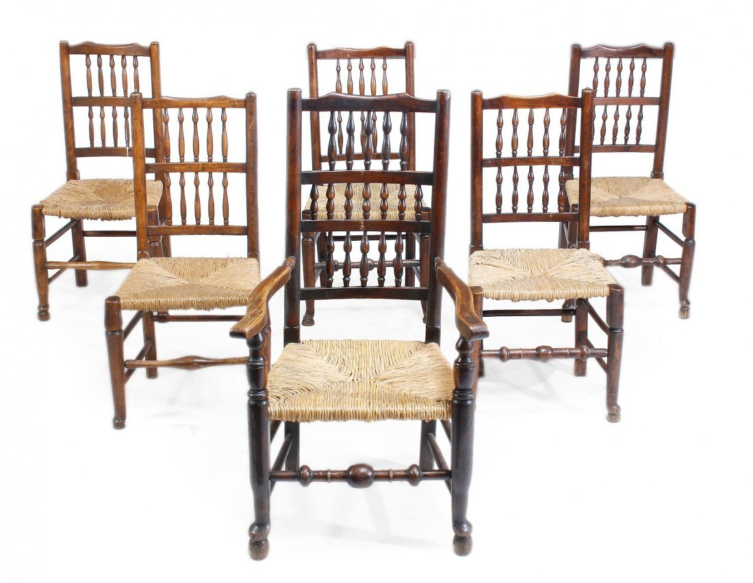 A matched set of twelve ladderback chairs , 19th