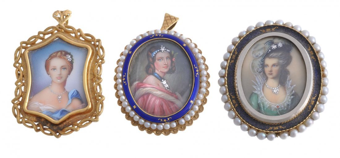 Three pendant miniatures, each painted with the image