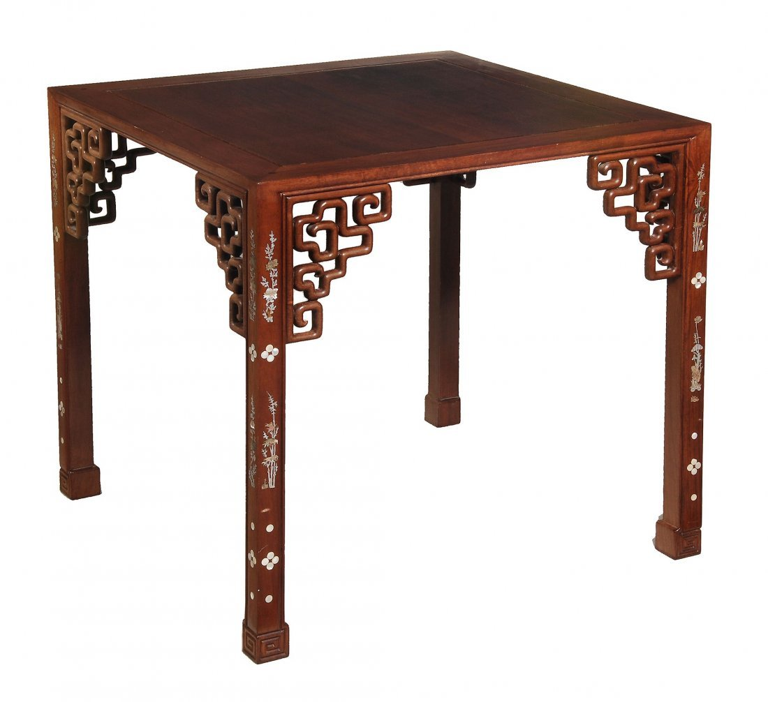 An Oriental table with mop inlay, early 20th century