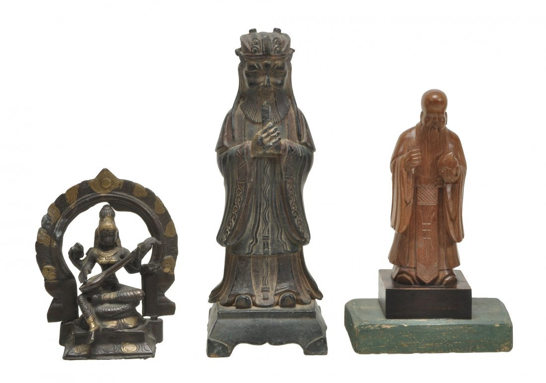 A Chinese wood model of a standing Shoulao , holding a