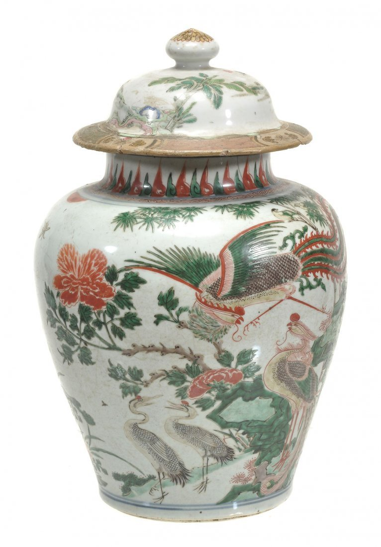 A Chinese wucai jar of baluster shape decorated with