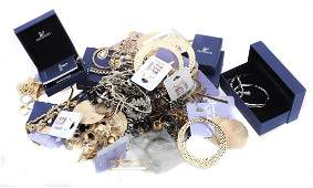 A collection of costume jewellery , including;