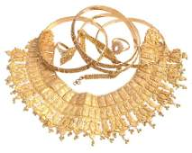 A collection of gold coloured jewellery  including