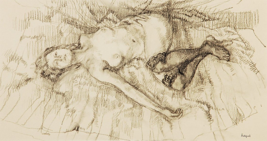 Peter Kuhfeld (b. 1952) - Reclining nude with black