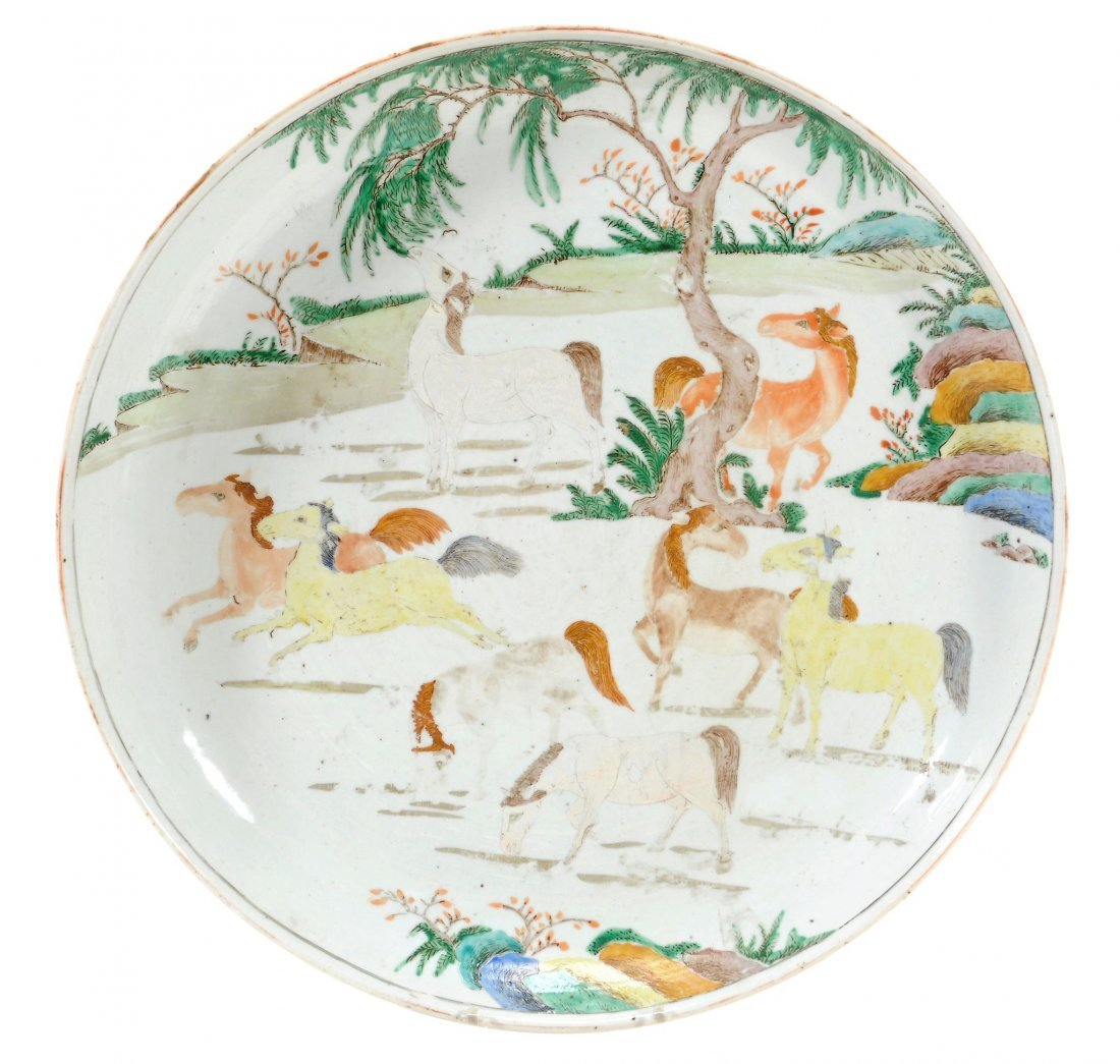 A Chinese famille verte charger decorated with the