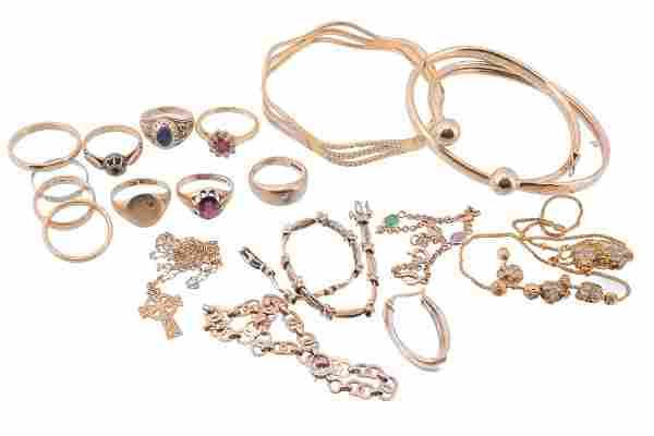 A collection of gold coloured jewellery ; including a