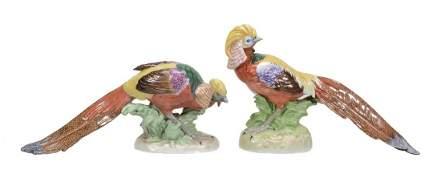 A pair of modern Dresden porcelain models of golden