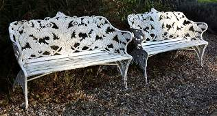 A pair of Victorian painted cast iron Fern and