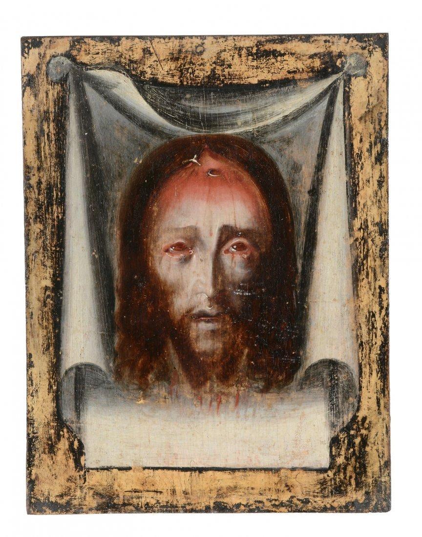 [?]Spanish School - The Sudarium of St Veronica