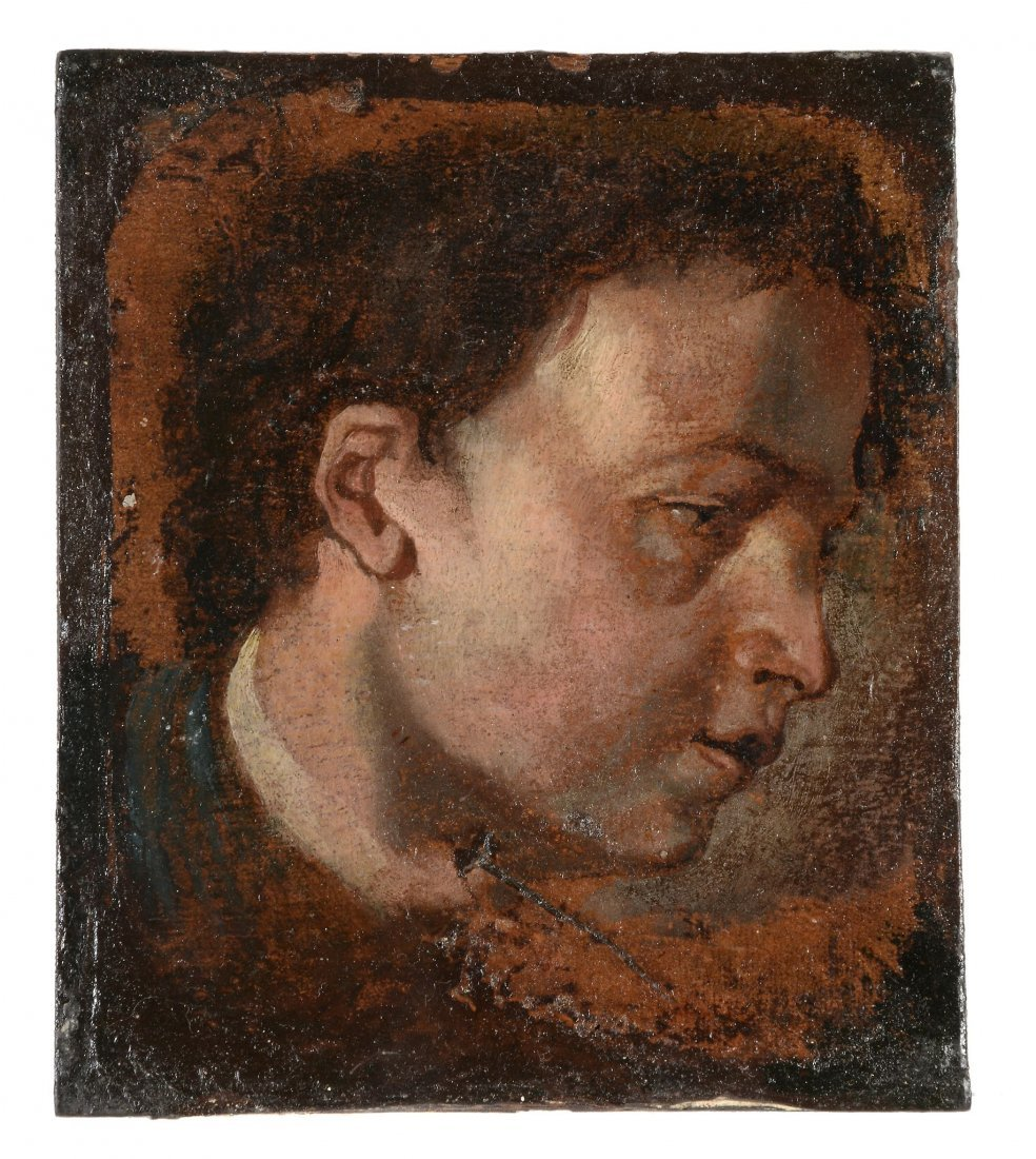 After/Follower of Van Dyck - Profile head study of a