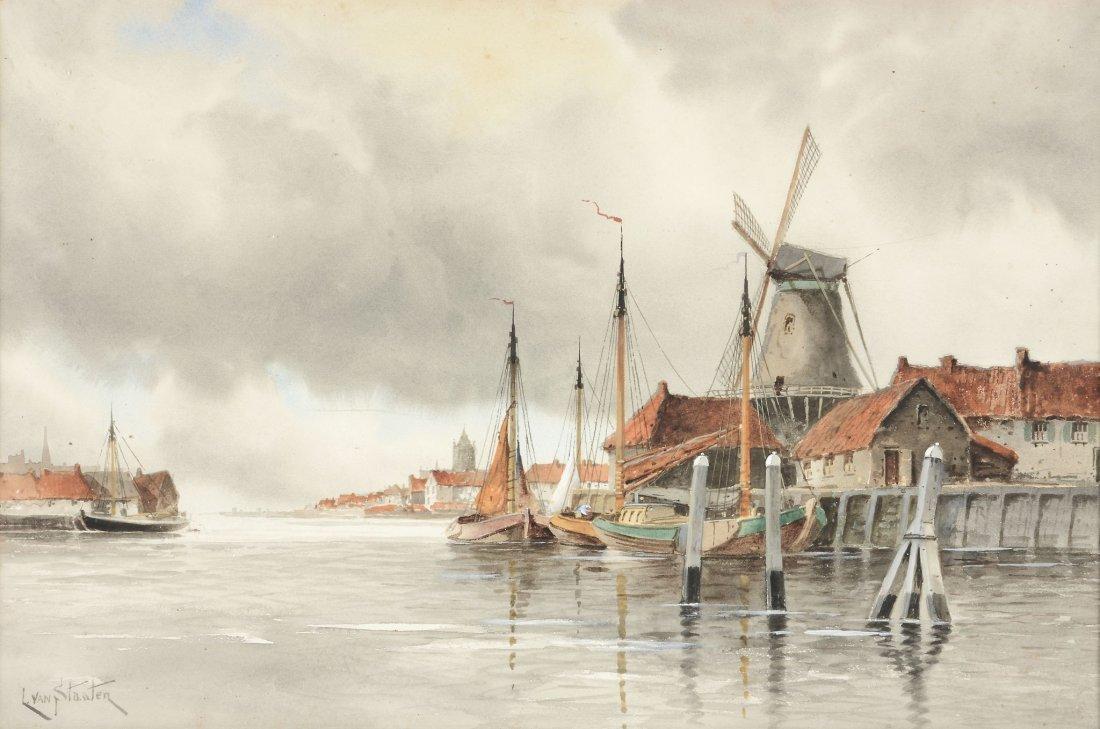 Louis van Staaten (1836 - 1909) - Views on the Maas,