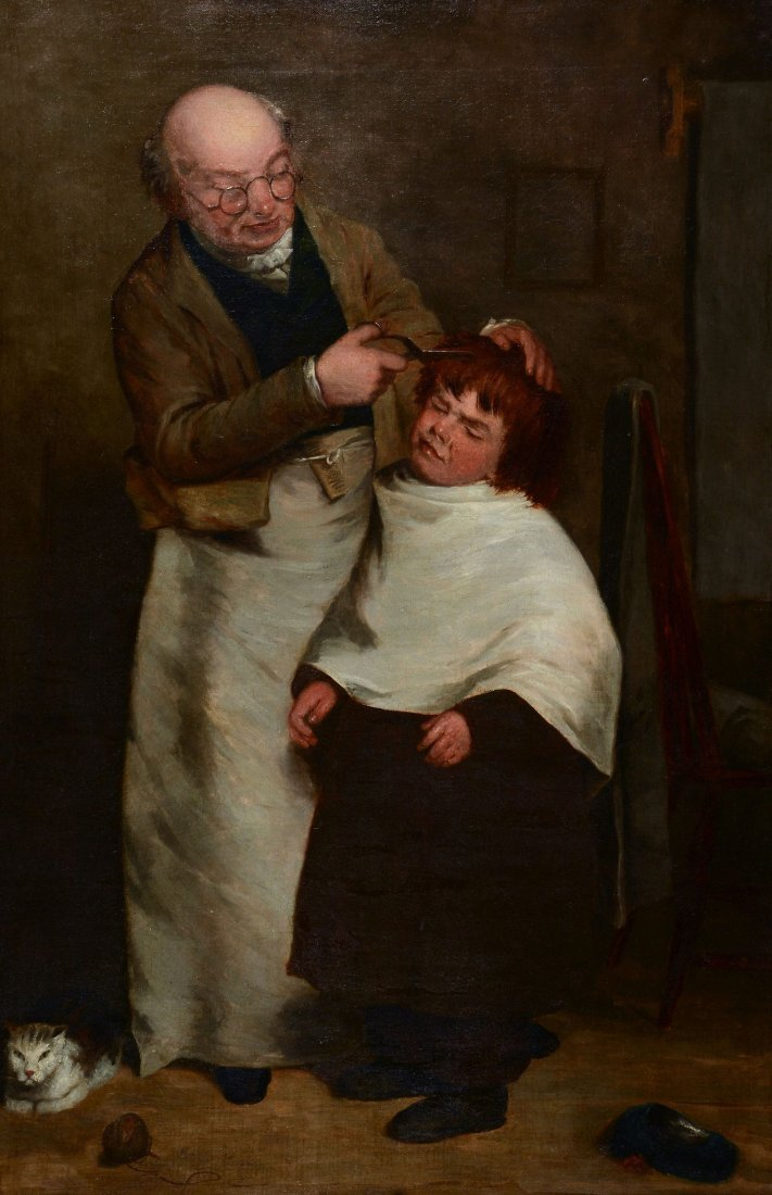 Follower of William Mulready - A barber shop
