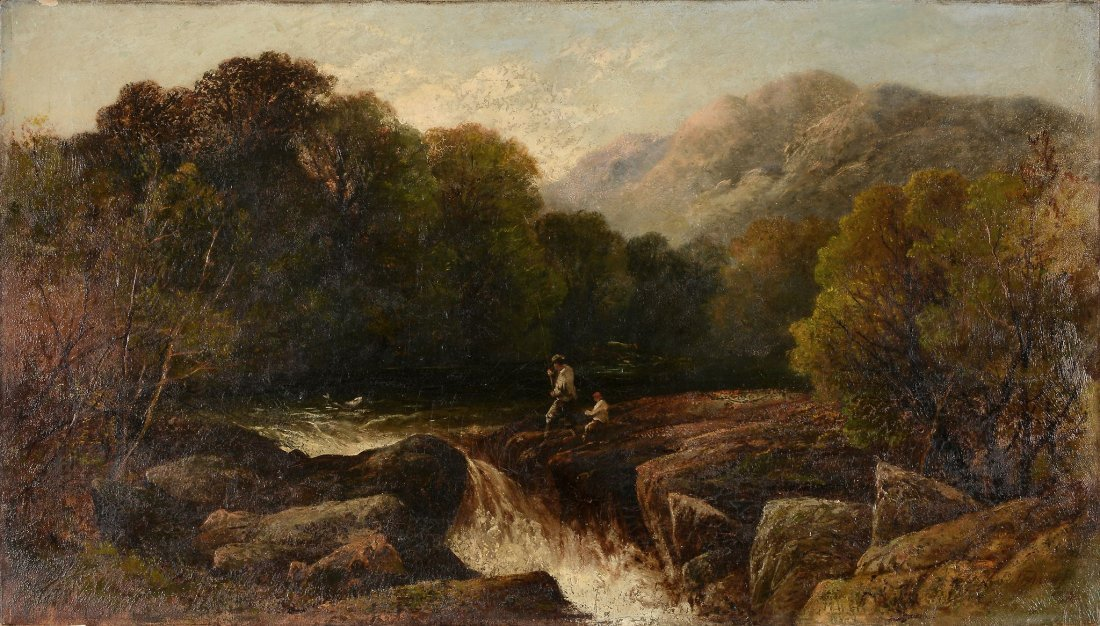 English School (19th Century) - Fishing on the banks of
