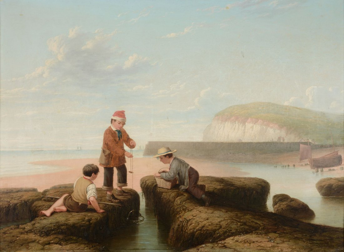 J. M. Drury (19th century) - Three boys shrimping