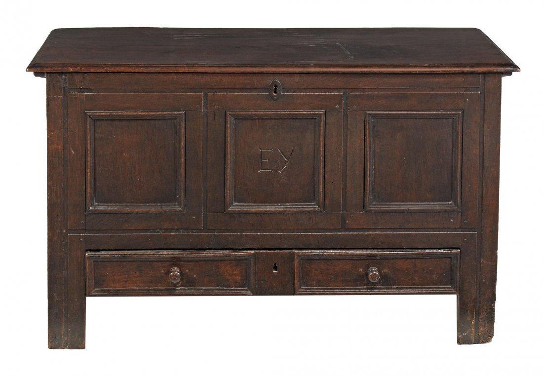 A George II panelled oak mule chest, circa 1740