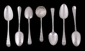 A set of six George III silver Old English feather-edge