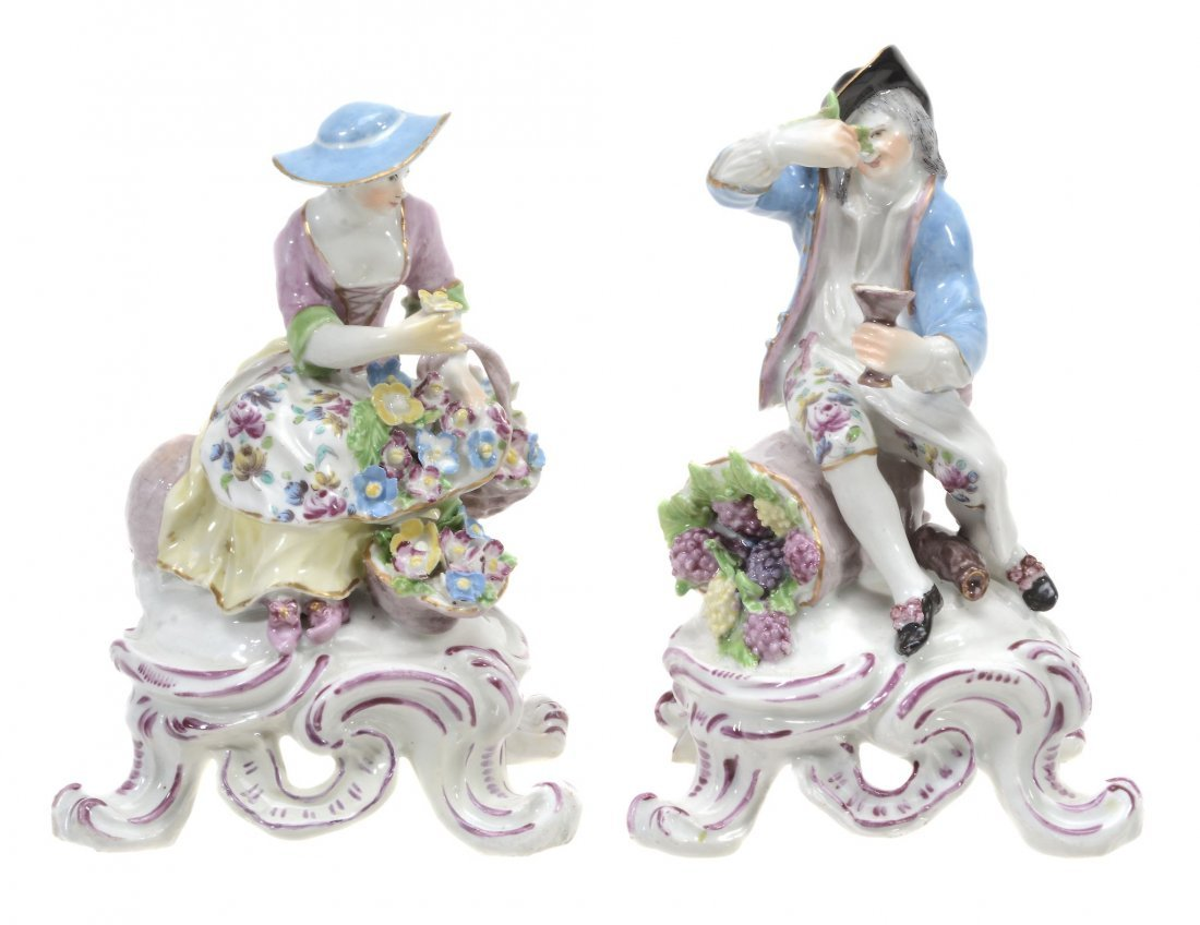 A pair of Bow porcelain figures of Spring and Autumn