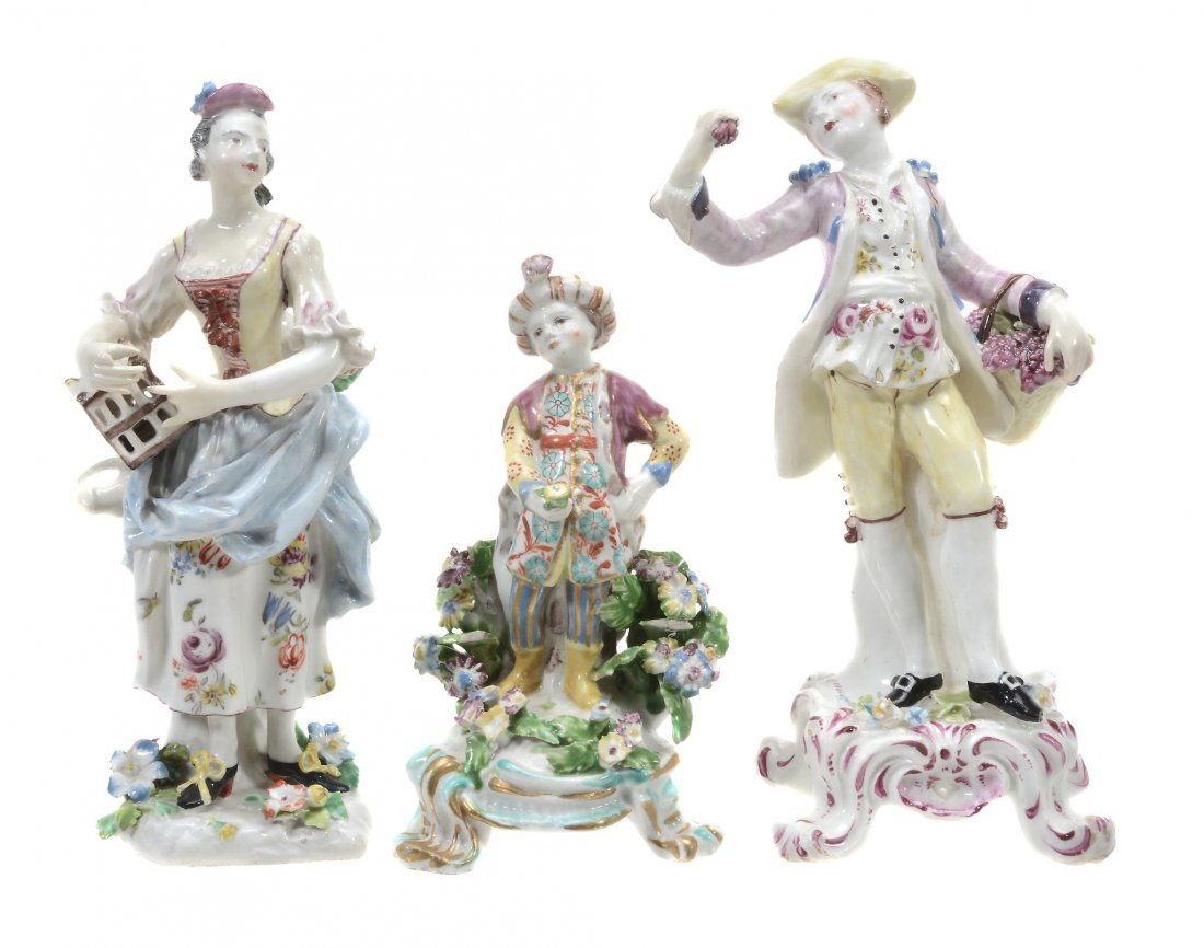 Three various Bow porcelain figures, circa 1760-65