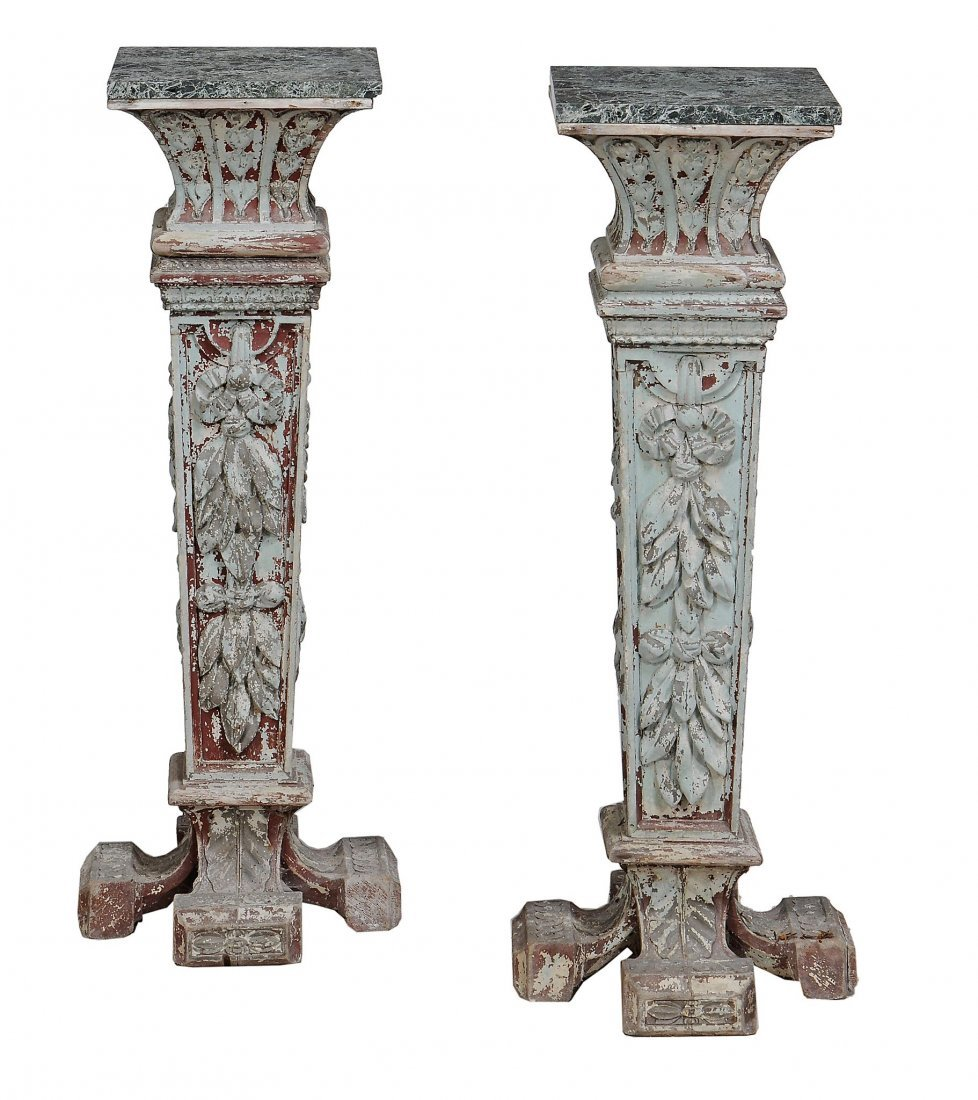 A pair of green painted pedestals, Italian, late 19th