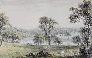 Anthony Devis Near Newick Park, Sussex Pencil and