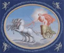 Continental School Classical maiden in chariot Gouache