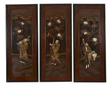 A Set of Three Japanese Lacquered and Inlaid panels