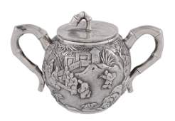 A Chinese export silver sugar basin and cover by Sun