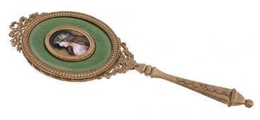 A French gilt metal and Limoges Revival enamel hand