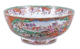 A Chinese export Mandarin palette punch bowl, Qing