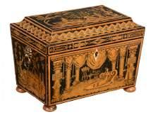 A Regency penworked tea caddy, circa 1815, of