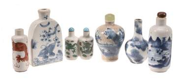 Six Chinese porcelain snuff bottles, 19th and 20th