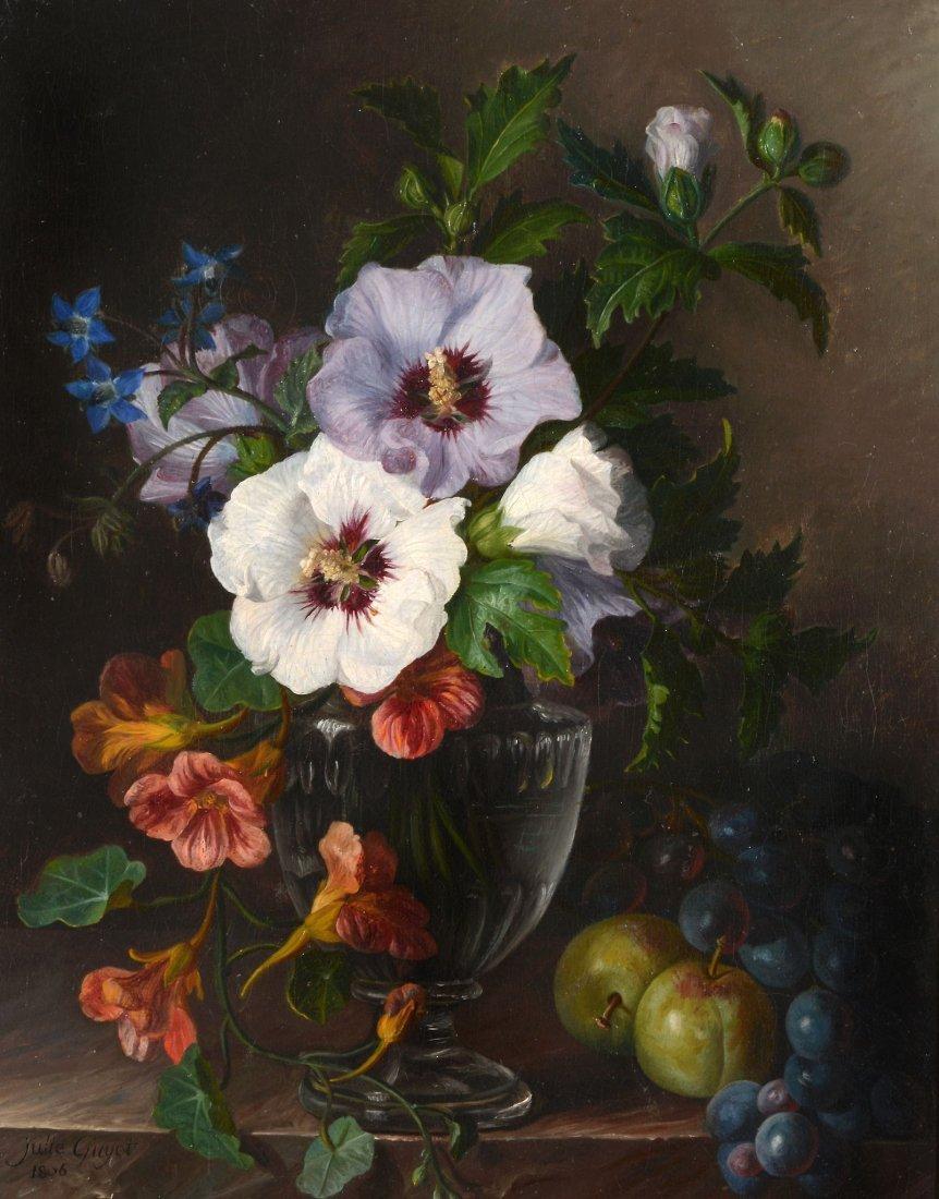 Julie Guyot (fl. 1800s) - Nasturtium in a glass vase