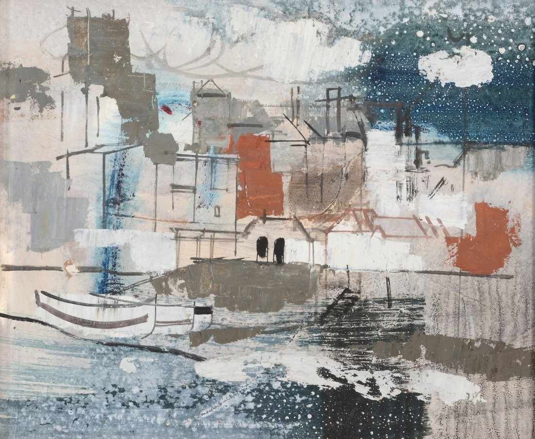 George Hammond Steel (1900-1960) - Boats in a harbour