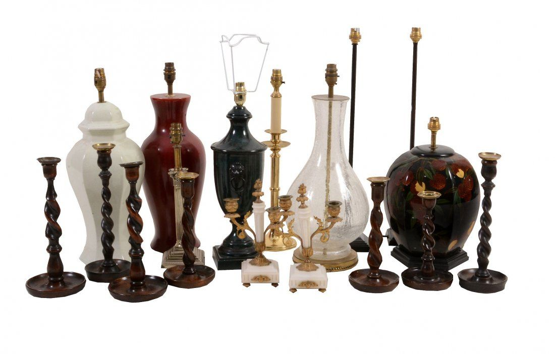 A selection of modern table lamps, including a turned