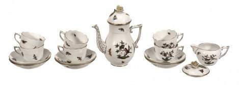 A modern Herend 'Rothschild Birds' pattern part coffee