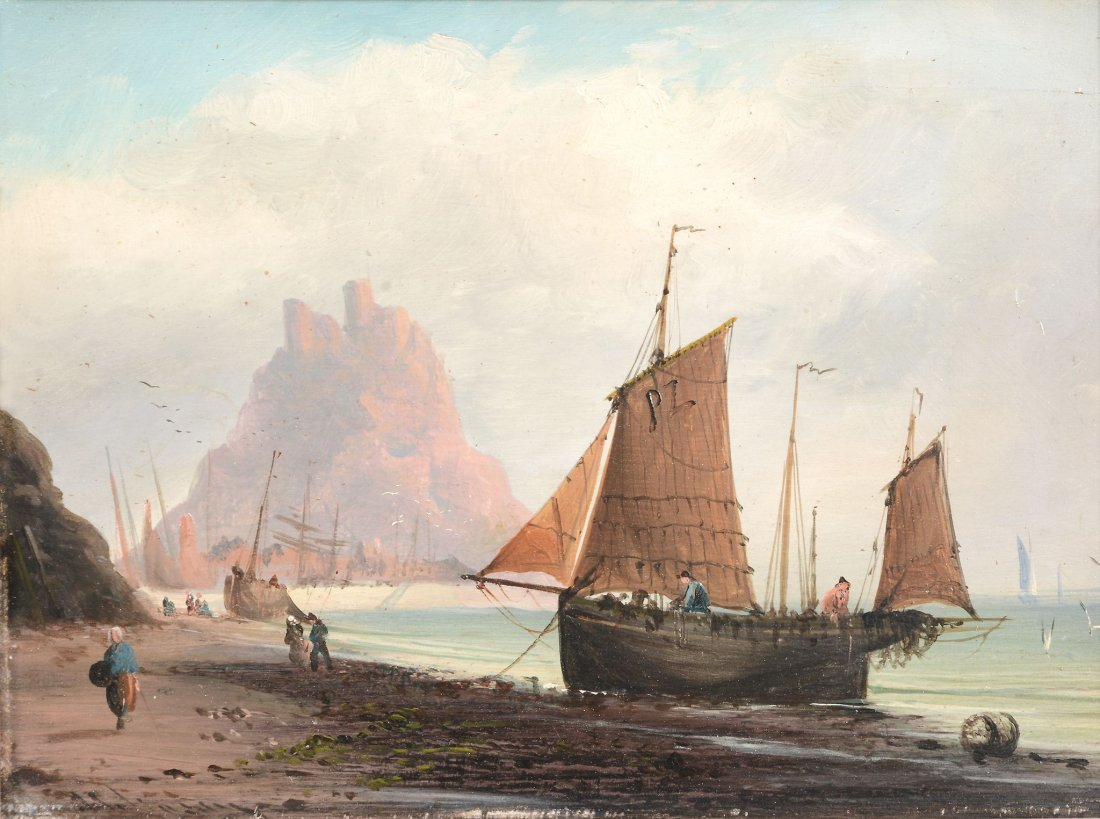 English School (19th Century) - Seascape with boats on