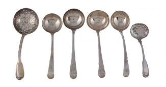 Four George III silver old English pattern sauce ladles