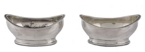 A pair of George III silver oval salt cellars by Robert