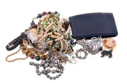A collection of costume jewellery, including