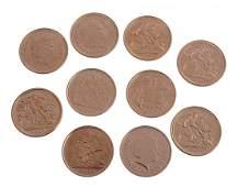 Elizabeth II Half Sovereigns  all different years