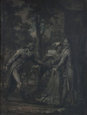 French School (18th Century) - Three Figures In A