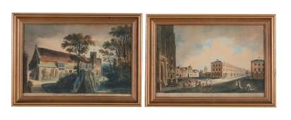 English School (19th century) - A group of four views