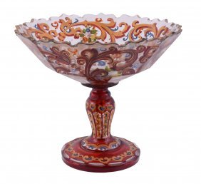 A Bohemian/turkish Ruby-flashed And Clear Glass Comport