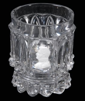 A Baccarat Press-moulded Glass Tumbler With Sulphide