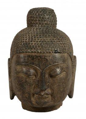 A Large Chinese Grey Stone Head Of A Buddha, Ming